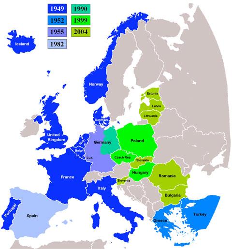 Naton jäsenmaat liittymisvuosineen